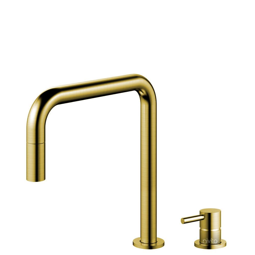 Messing/Gull Kjøkkenarmatur Pullout slange / Atskilt kropp/pipe - Nivito RH-340-VI
